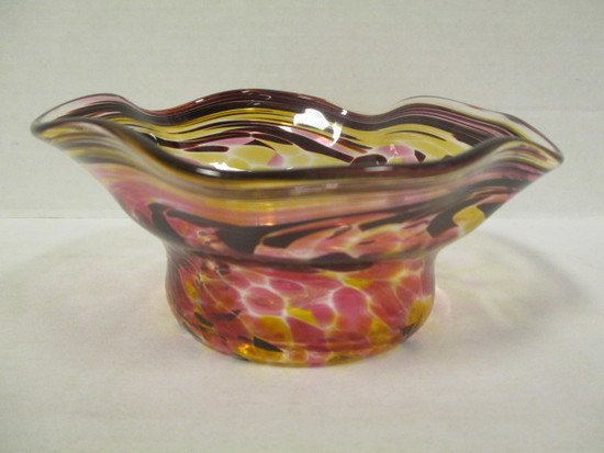 Signed Loretta Eby Art Glass Bowl