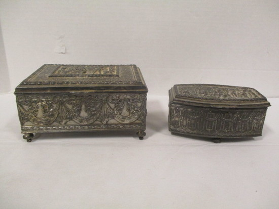 Two Silver-Tone Metal Lidded Jewelry Boxes
