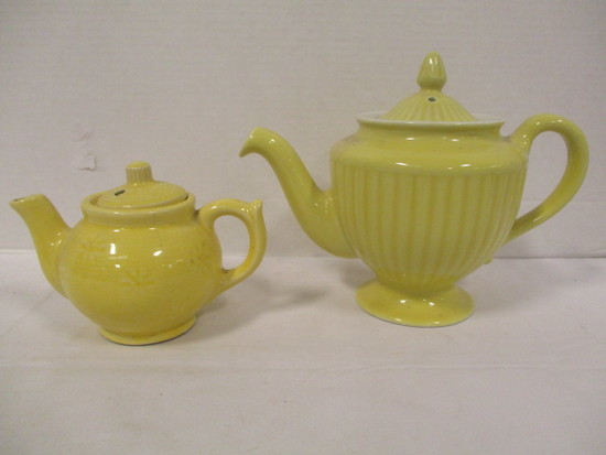 Yellow Hall Pottery Tea Pot and Yellow Pottery Individual Tea Pot
