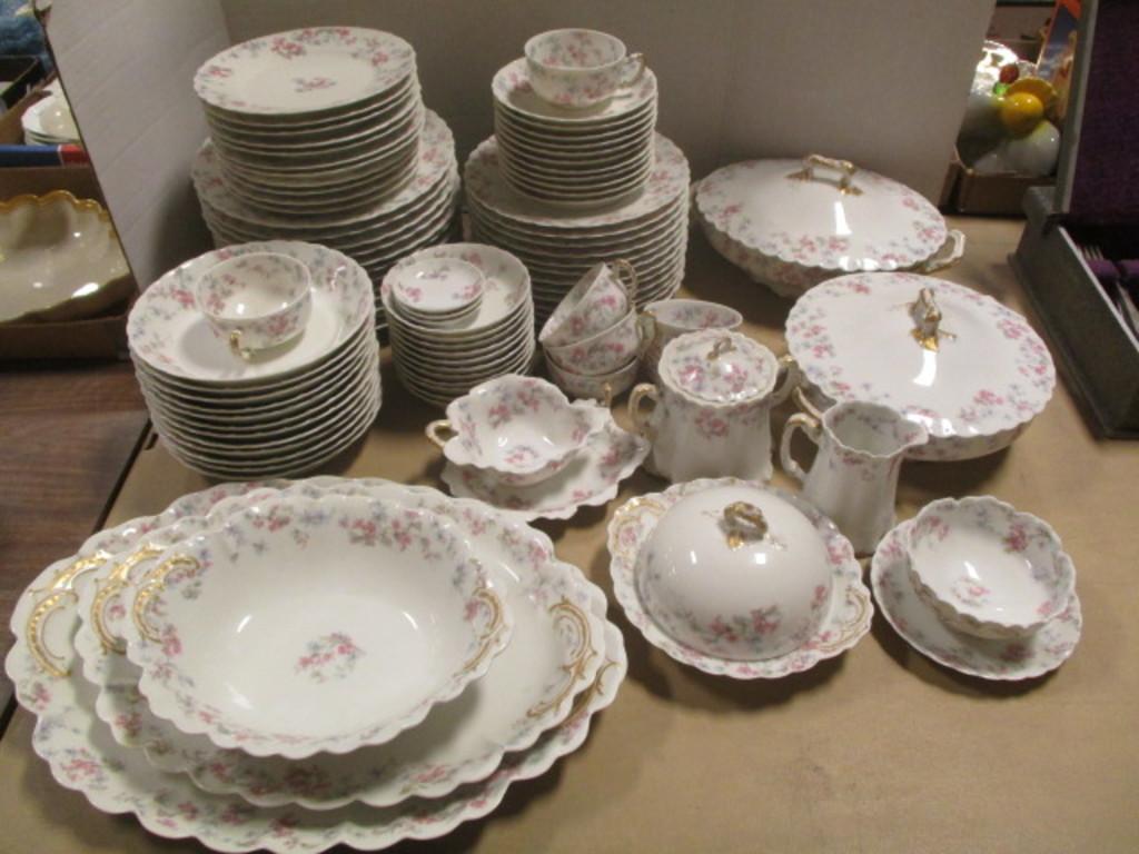 90 Pieces of Antique Haviland & Co. Limoges Pink Azalea China