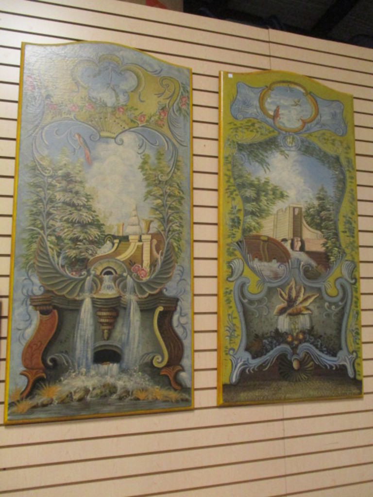 Pair of Large Painted Grecian Garden Scene Wall Panels