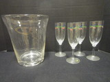 Clear Art Glass Ice Bucket and Four Hand Painted Champagne Flutes