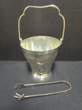 Small Silverplated Ice Pail with Tongs and Strainer