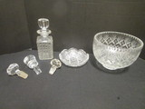 Crystal Bowl, Decanter, Stoppers and Tidbit Dish