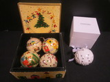 2011 Pandora Porcelain Ornament and Hand Painted Foreside Ornaments in Wood Box