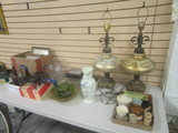 Table Lot-Colored Glass Bottles, Frames, Lamps, Pottery Pieces, etc.