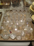 Large Lot of Clear Glass and Crystal Stemware and Glasses