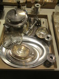 Silverplated Trays, Butter Dish, Tureen, Salt/Pepper Shakers, Candle Holders, etc.
