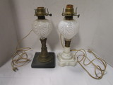 Two Vintage Art Glass Table Lamps