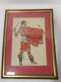 Framed Colored Lithograph of Ceremonial Tribal Man by Barbara Tyrrell