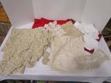 Vintage Lace Table Clothe, Dollies, Linen Napkins, etc.