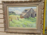 Framed Oil on Canvas of Old Barn by Sally Potter