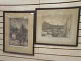 Two Framed Pencil Titled/Dated Florence Scene Lithographs by Maxim Seilbold