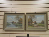 Two Framed Artwork on Board by HW Rupprerht of Country Side Scenes