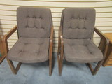 Pair of Wood Framed Upholstered Chairs
