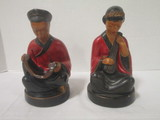 ABCO Hand Painted Oriental Man and Woman Statues
