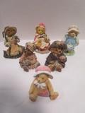 Three Boyd's Bears Figurines and Three Cherished Teddies Figurines