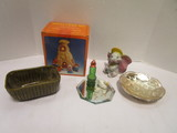 Pottery Planter, Thanksgiving Night Light Set, Brush Chrome Bowl and Figurines