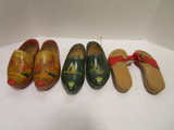 Two Pairs of Painted Wood Dutch Shoes and Pair of Dr. Scholl Wood Bottom