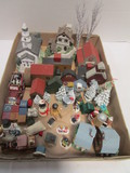 Mini Wood Houses, Christmas Village Pieces and Trees