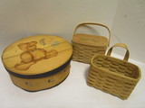 Two Woven Baskets and Round Wood Cheese Box