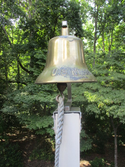 """Brass """"USN"""" Bell with Aluminum Mounting Bracket"""