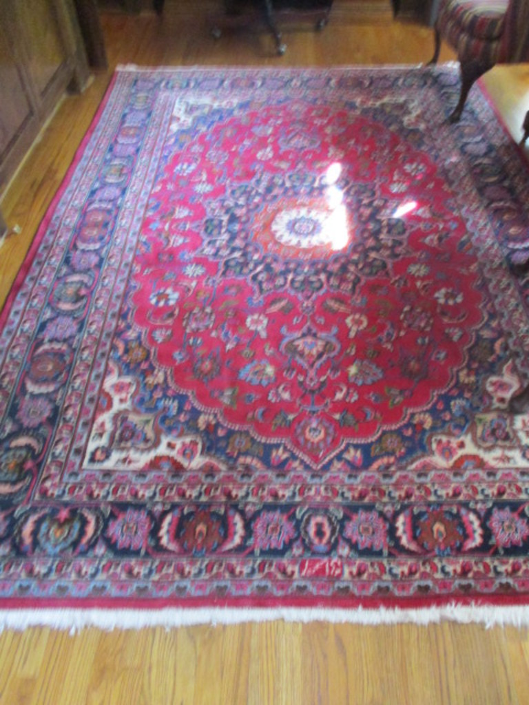 Antique Mashad 100% Wool Persian Rug with COA and Non-Slip Pad