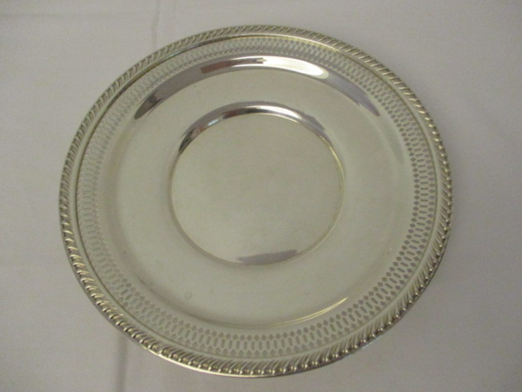 Preisener Sterling Silver Lattice Edge Dish