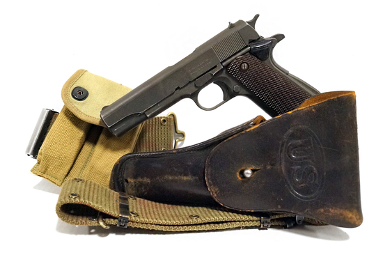 WWII Remington Rand Model 1911 A1 US Army .45 ACP Pistol Full Rig w/ Magazine Pouch & Holster