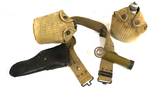 WWII Web Belt Full Rig w/ 2 Canteens, 1911 Holster, and Eveready Flashlight
