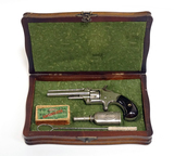Exquisite Collector's S&W Model 1 3rd Issue .22 RF Short Spur Trigger Revolver in Presentation Box