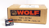 NIB 1,000rds. of WOLF 7.62x39mm 122gr FMJ Russian Ammunition - Steel Case/Non-Corrosive