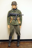 Suited Mannequin - German WWII Private of the Infantry in Heer Splinter Design Tunic w/ M42 Helmet