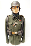 Suited Mannequin - German WWII SS Signalman w/ Normandy Camouflage Single Decal SS M40 Helmet