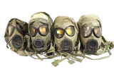 4 M17 A1&A2 Gas Masks with M6A2 Chemical, Biological Hoods