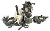 2 German Drager M65 Gas Masks, MSA Combo Respirator, and MSA Canister Filter