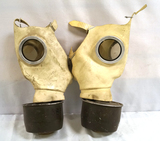 2 German Z56 White Rubber Civillian Gas Masks