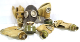 4 Soviet Union GP-5 (SHM-62) Civil Gas Masks & 1 Rare PRWU (SHMS) USSR Army Sniper Gas Mask