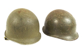 Pair of M1 Combat Helmet Shells - Rear Seam/Swivel Bale