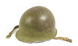 Rare Early M1 Helmet Shell - Watermelon Front Seam/Fixed Bale with Brass Chin Strap