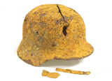 Interesting War Relic German M35 Helmet Dug from the Kurland Battlefield w/ Bullet Hole Penetration