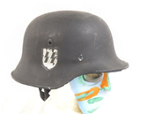 Reenactment Piece - German WWII Black Double Decal SS Helmet