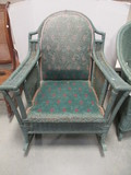 Green Wicker Rocker with Metal Spring Seat