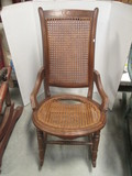 Vintage Wood Sewing Rocker with Caned Seat/Back