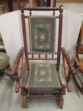Wood Spindle Frame Spring Rocker with Needle Point Seat/Back