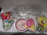 Five Wilton Cake Pans-Thomas the Train, SpongeBob, Scooby Doo, Barbie and Ariel