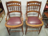 Pair of Wood Chairs with Faux Leather Seat and Nail Head Accents