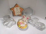 Five Wilton Cake Pans-Pumpkin, Star, Lamb, Bunny and Graduate