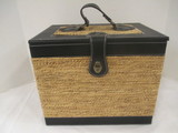 Like New Picnic Set in Faux Leather/Woven Box