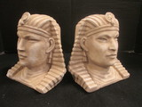 Pair of Plaster Pharaoh Bust Bookends